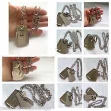 UK - men unisex stainless steel 3 pieces dog tag chain necklace photo frame