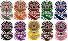 ROYAL FLUSH 14g HEAVY WEIGHT POKER CHIPS 1 5 25 100 500 1000 5000 25000 VALUES