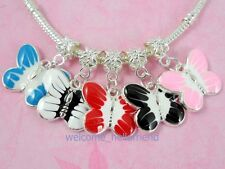 20pcs Cute Silver/P Butterfly Dangle Charm Fit Bracelet E16
