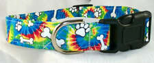 Tie Dye Bones Paws Designer Dog Collar, Martingale with leash set option