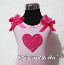 Valentine Light Pink Pettitop Top Hot Pink Ruffles Heart with Bow 4 Skirt NB-8Y