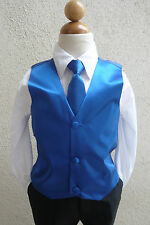 BOY'S SOLID ROYAL BLUE VEST NECK TIES / BOW TIES TUXEDO & SUIT  SIZE 2 - 16