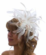 Ivory & Nude Taupe Feather Fascinator Hat Choose any colour Satin & Feather(HBC)