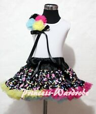 Rainbow Dots Pettiskirt Skirt with Bunch Rosettes White Pettitop Top 4 Girl 1-8Y