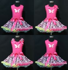 Hot Pink Pettitop Top in Butterfly Print Hot Pink Floral Print Pettiskirt 1-8Y