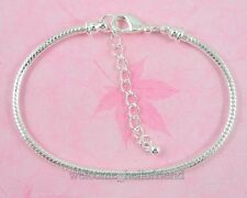Silver /P Lobster Clasp Snake Chain Charm Bracelet Fit European Beads P02