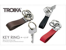 Troika KEY CLICK Leather Key Ring Fob with 3 Rings choice of black, brown or red