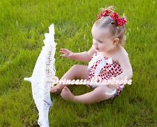 NewBorn Baby White Red Dots Ruffles ONE PIECE Petti Romper Jumpsuit Girl NB-3Y