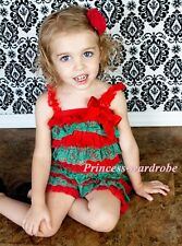 Christmas NewBorn Baby Red Green Layer Chiffon ONE PIECE Petti Romper NB-3Year