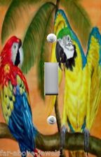 Light Switch Plate Switchplate & Outlet Covers TROPICAL PARADISE PARROTS