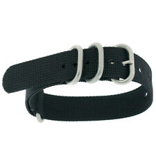 Watch Band Nylon One Piece Black Stainless Steel Buckle NYL100BLK