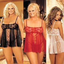 Plus Size Lingerie One Size Queen Black Red or White Babydoll  SOH96120Q