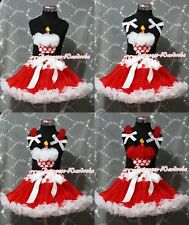 Red White Dot Waist Pettiskirt Black Pettitop & Red Minnie Cupcake Girl Set 1-8Y