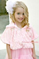 Light Pink Kids Pattern Girl Soft Fur with bow Capelet Coat Size 2-6Y Shawl SH17