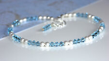 Handmade Anklet made with Aquamarine Swarovski Elements and White Pearls