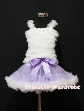 Lavender White Pettiskirt Skirt Tutu with White Ruffle Tank Top Party Set 1-8Y