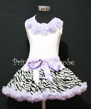 FULL Lavender Zebra Party Pettiskirt Tutu White Top Lavender Rose Girl Set 1-8Y