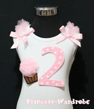 White Cotton Top Pink Dots Birthday Number 2nd Cake Baby For Girl Pettiskirt 2T