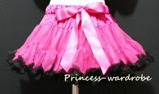Hot Pink Pure Black FULL Pettiskirt Skirt Petti Party Dance Tutu Dress Girl 1-8Y