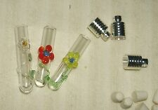 Glass Vial Pendant Charm Daisy  red, yellow, clear, silver-plated cap