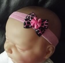 BABY GIRL/REBORN DOLL ANIMAL PRINT PINK DOUBLE BOW HEADBAND ALL SIZES