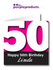 PERSONALISED 50th BIRTHDAY CARD AVAILABLE IN 6 COLOURS