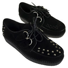 Womens Black Goth Creepers Platform Ladies Brothel Faux Suede Punk Shoes UK 3-8