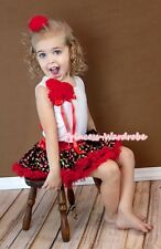 Red Cherry Print Pettiskirt Tutu White Pettitop Bunch Red Rose Bow Girl Set 1-8Y
