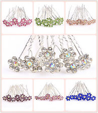 10pcs beautiful crystal rhinestone Hair pins for girl/Women U pick color