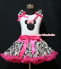 Hot Pink Damask Rose Pettiskirt White Pettitop Top MINNIE PRINT Ruffles Set 1-8Y