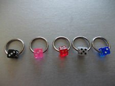 1 x DICE UV ACRYLIC BALL CAPTIVE RING,CHOSE COLOUR & BCR SIZE, 8MM,10MM,12MM,14