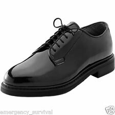 Black Gloss Coraframs Corfram Military Dress Uniform Patent Leather Oxford Shoes