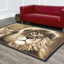 African Lion Lioness Big Cat Beige Area Rug King of the Jungle Animal Carpet