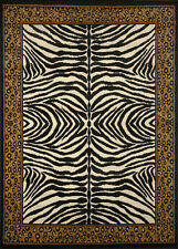 Zebra Skin Leopard Print Bordered Area Rug Exotic Animal Modern African Carpet