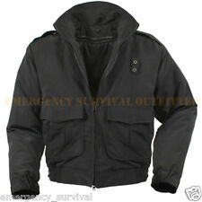 Water Repellent Black Tactical Duty Foul Weather Jacket with Removable Liner