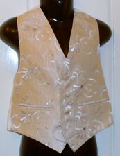 GORGEOUS BOYS BEIGE CREAM SWIRL WAISTCOAT/TUXEDO VEST SIZES 20 22 24 26 30