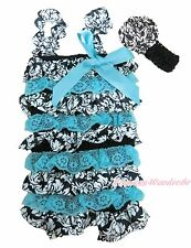 NewBorn Baby Aqua Blue Demask Print Lace Chiffon Romper Headband 2PC Set NB-3Y