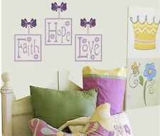 FAITH - hope - LOVE vinyl wall picture decals - match nursery or bedding