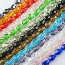 4mm 6mm Faceted Waterdrop Glass Crystal Rondelle Spacer Beads Black,Mixed etc.
