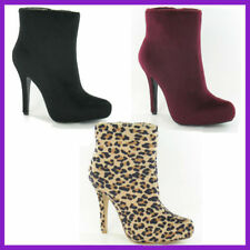 Ladies Ankle Boots by Spot On in Black or Leopard Print Beige - F50012