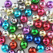 8mm 10mm 12mm Random Shiny Mixed Acrylic Plastic Smooth Round Ball Spacer Beads