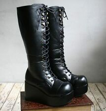 Gothic Lolita Lace up CORSET Platform Knee Boot Black