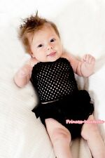 Newborn Baby Black Rosette Bloomer Pantie with Crochet Tube Top 2PC Set NB-3Year