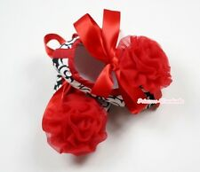 Infant Baby Toddler Girl Hot Red Damask Print Shoe Ribbon with Red Rose 0-18M