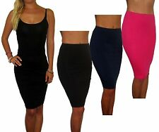 New Pencil Wiggle Stretch Bodycon Cotton School Skirt  Black Pink Navy UK 8 - 20