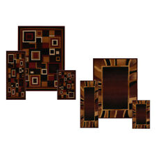 Contemporary Geometric Bordered 3 Pieces Area Rug Modern Striped Runner Mat Set