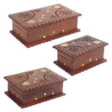Wooden Box With Brass Leaf Inlay 144