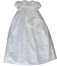 New Infant's Lace-Trimmed Christening gown & Bonnet hand smocked 17095