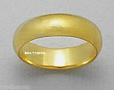 Pure 18k Yellow Gold Over Solid Sterling Silver 6mm Mens Wedding Band size 10-14