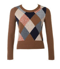 new RRP $140 COUNTRY ROAD ARGYLE KNIT 100% LAMBS WOOL JUMPER CARDIGAN